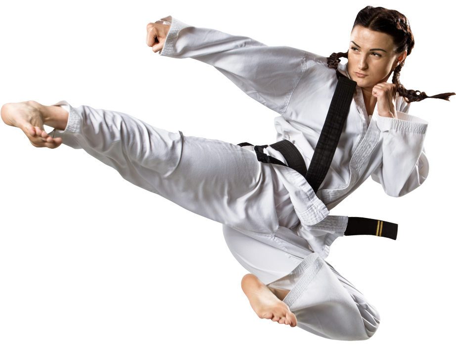 woman doing a flying kick
